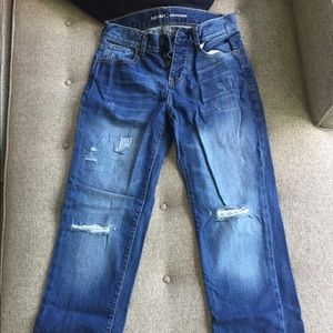Old navy boyfriend style jeans with distressing